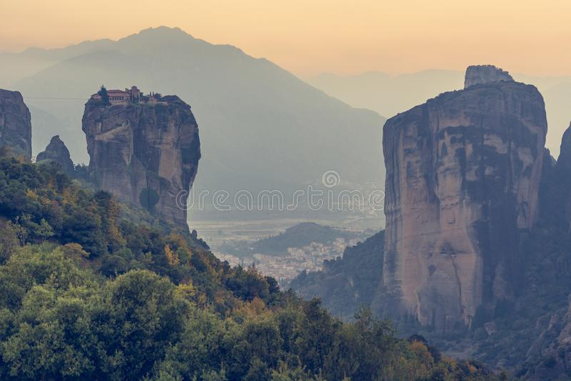 Famouse monastery of Meteora in sunset light. Famouse monastery of Meteora, Greece at sunset stock photography
