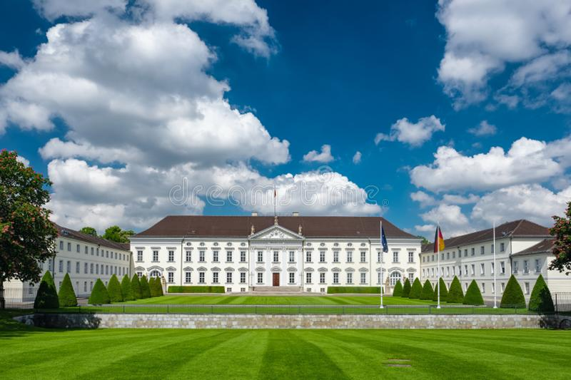 Famouse Schloss Bellevue, the Presidential palace in Berlin stock photos