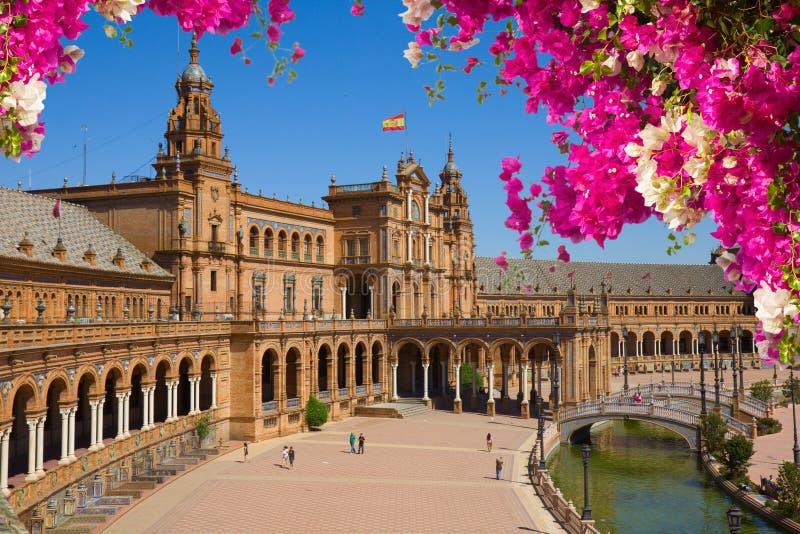 Famousevierkant van Spanje in Sevilla, Spanje stock afbeelding