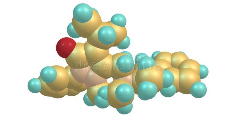 Famprofazone-Molekülstruktur lokalisiert auf Weiß lizenzfreie abbildung