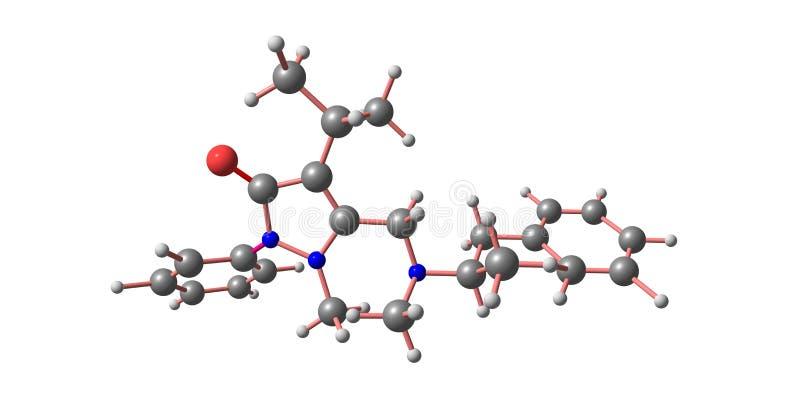 Famprofazone-Molekülstruktur lokalisiert auf Weiß stock abbildung