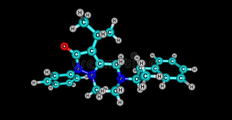 Famprofazone molekylär struktur som isoleras på svart stock illustrationer