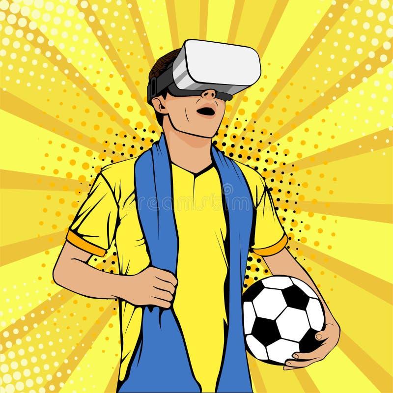 Fanático del fútbol en vidrios de la realidad virtual con la boca y la bola abiertas Ejemplo colorido del vector en estilo cómico stock de ilustración