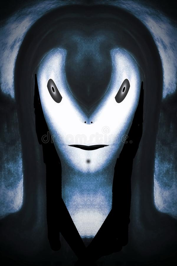 Fanático do rolo de Pale Skinned Alien Rock N ' ilustração royalty free