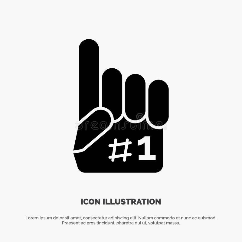 Fanático, finger, espuma, vector sólido del icono del Glyph del deporte stock de ilustración