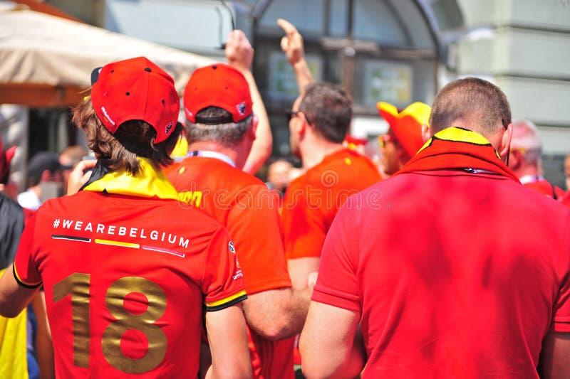 Fanáticos del fútbol belgas, Moscú foto de archivo libre de regalías