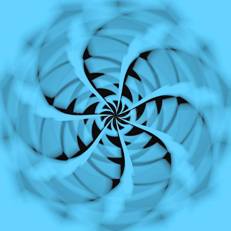 Fan. Abstract illustration, the rotation of blue fan counterclockwise vector illustration