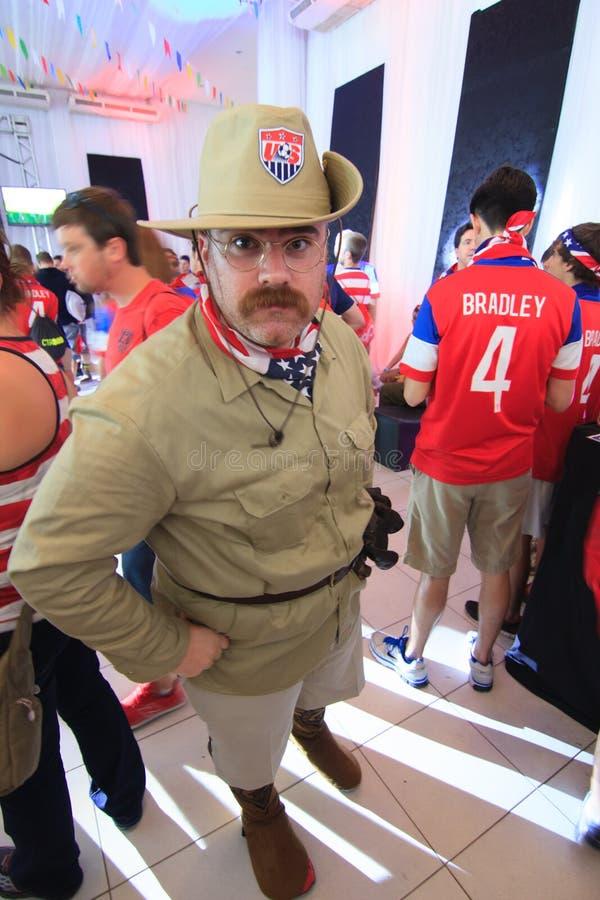 Fan américaine de coupe du monde habillée comme Teddy Roosevelt photographie stock libre de droits