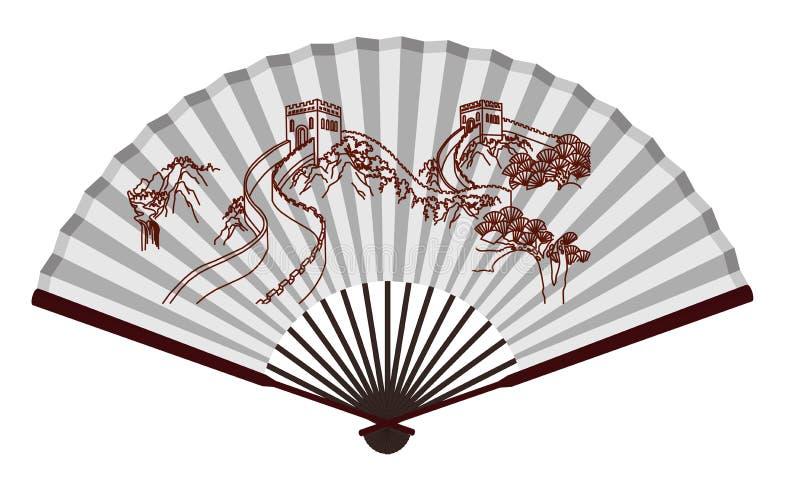 Fan antique de chinois traditionnel avec la Grande Muraille illustration de vecteur