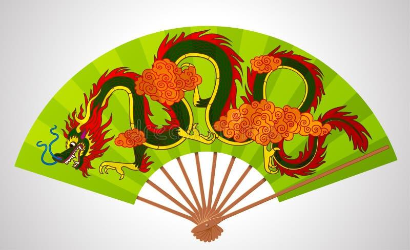 Fan aperto di cinese decorativo variopinto con il drago di volo e il clou illustrazione vettoriale