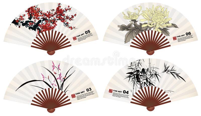 Download Fan art stock image. Image of drawing, bamboo, chrysanthemum - 31925573