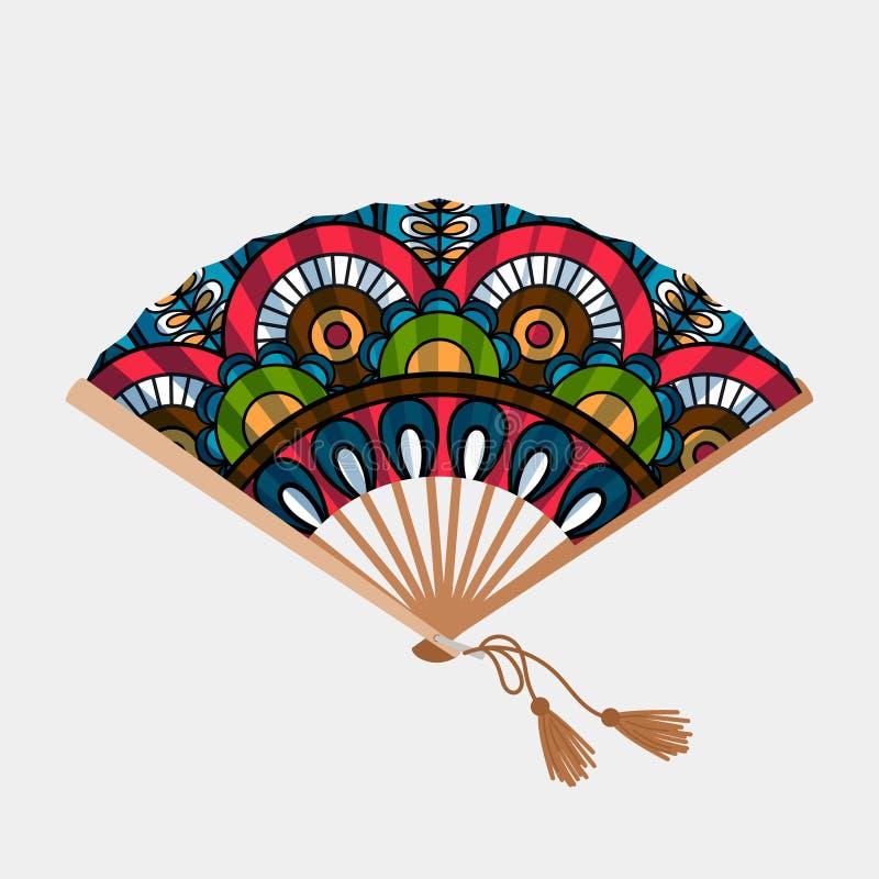 Fan asiática del ornamento floral del vintage ilustración del vector