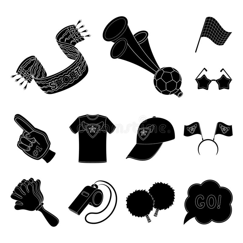 Fan and Attributes black icons in set collection for design. Sports Fan vector symbol stock web illustration. Fan and Attributes black icons in set collection vector illustration