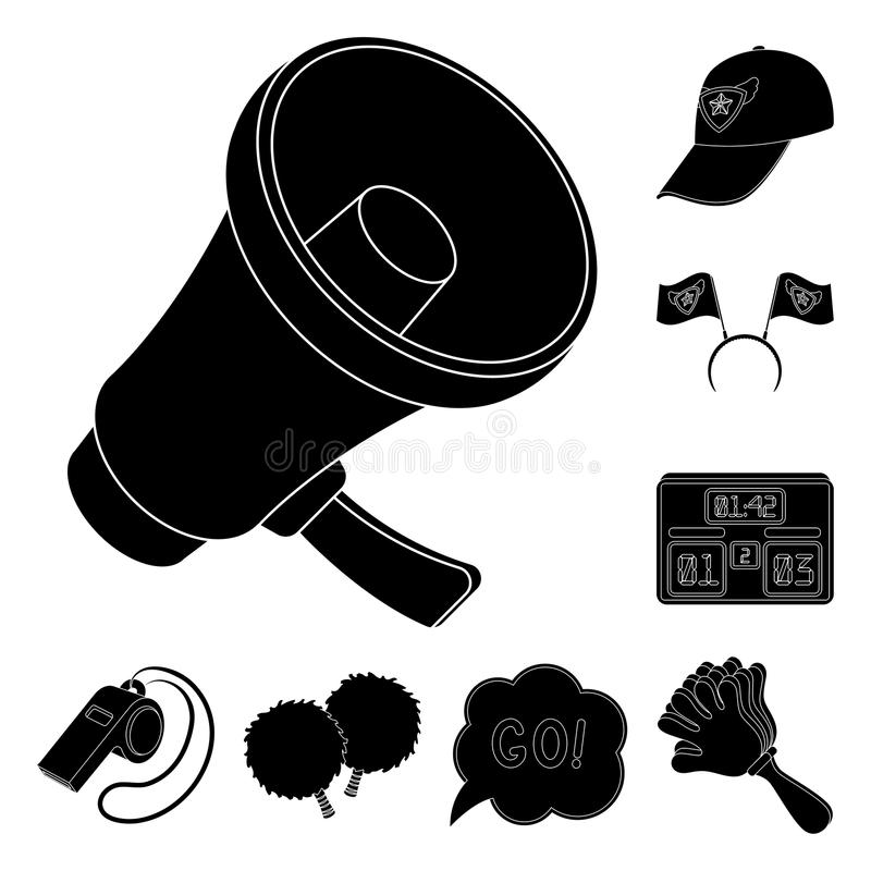 Fan and Attributes black icons in set collection for design. Sports Fan vector symbol stock web illustration. Fan and Attributes black icons in set collection stock illustration