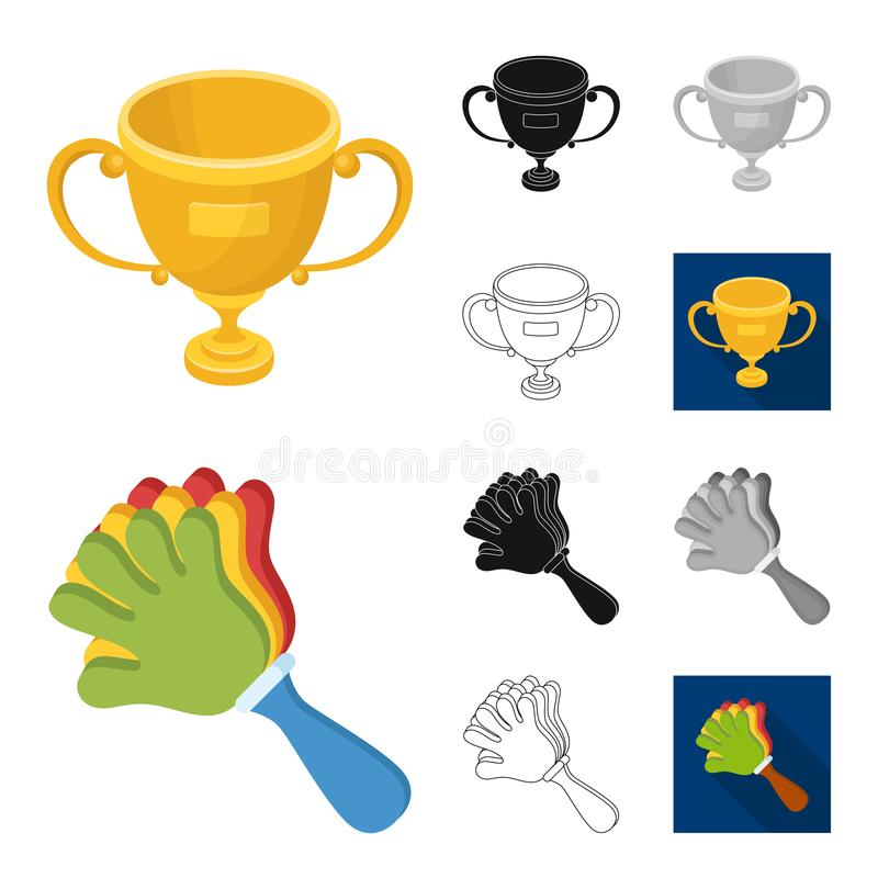 Fan and Attributes cartoon,black,flat,monochrome,outline icons in set collection for design. Sports Fan vector symbol. Stock illustration vector illustration