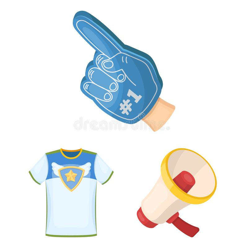 Fan and Attributes cartoon icons in set collection for design. Sports Fan vector symbol stock web illustration. Fan and Attributes cartoon icons in set royalty free illustration