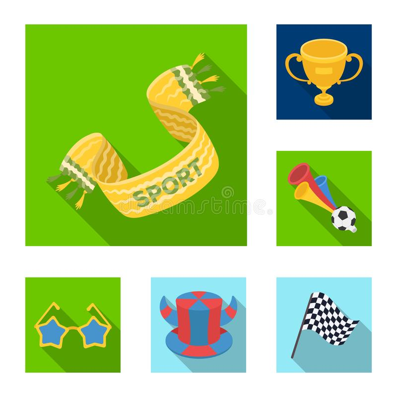 Fan and Attributes flat icons in set collection for design. Sports Fan vector symbol stock web illustration. Fan and Attributes flat icons in set collection for royalty free illustration