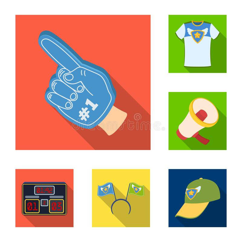 Fan and Attributes flat icons in set collection for design. Sports Fan vector symbol stock web illustration. Fan and Attributes flat icons in set collection for vector illustration