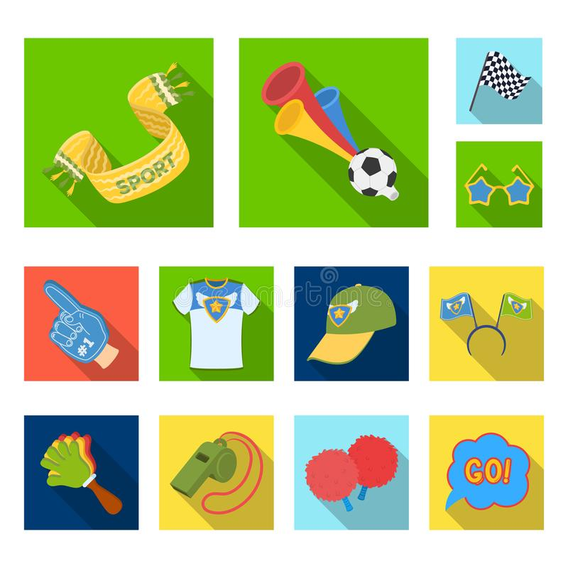 Fan and Attributes flat icons in set collection for design. Sports Fan vector symbol stock web illustration. Fan and Attributes flat icons in set collection for stock illustration