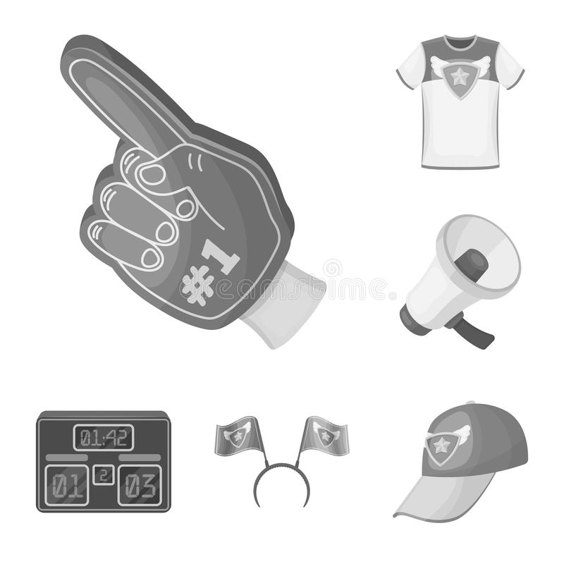 Fan and Attributes monochrome icons in set collection for design. Sports Fan vector symbol stock web illustration. Fan and Attributes monochrome icons in set royalty free illustration
