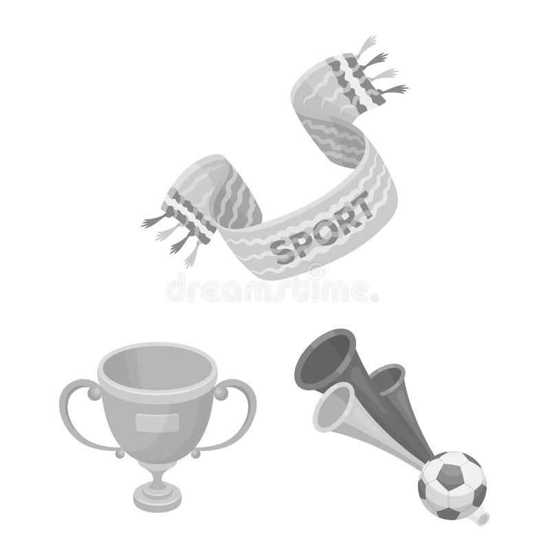 Fan and Attributes monochrome icons in set collection for design. Sports Fan vector symbol stock web illustration. Fan and Attributes monochrome icons in set stock illustration