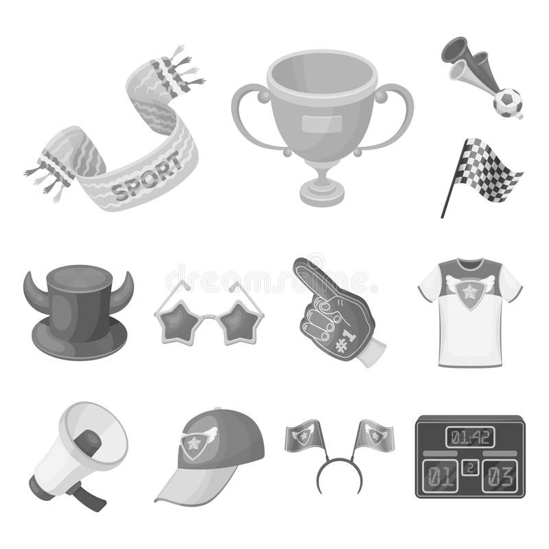 Fan and Attributes monochrome icons in set collection for design. Sports Fan vector symbol stock web illustration. Fan and Attributes monochrome icons in set vector illustration