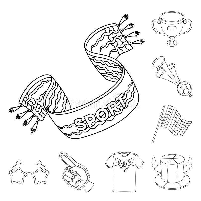 Fan and Attributes outline icons in set collection for design. Sports Fan vector symbol stock web illustration. Fan and Attributes outline icons in set royalty free illustration
