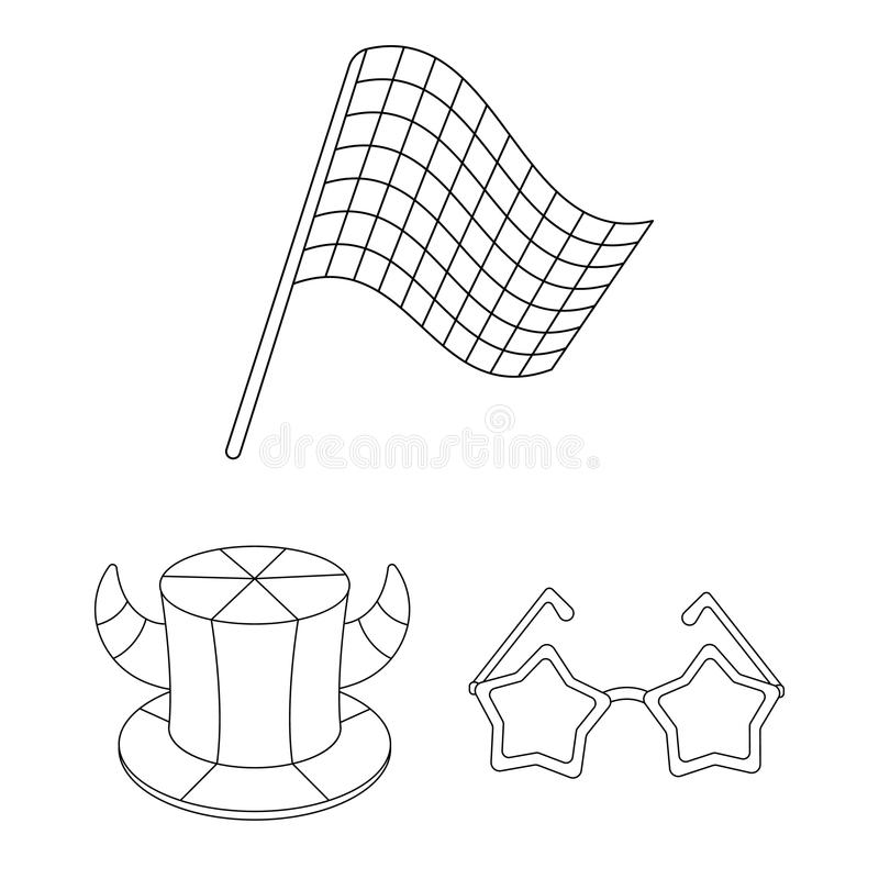 Fan and Attributes outline icons in set collection for design. Sports Fan vector symbol stock web illustration. Fan and Attributes outline icons in set vector illustration