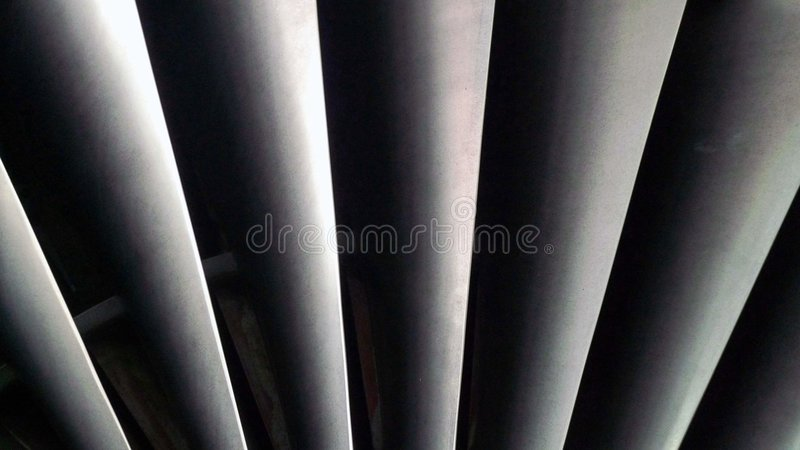 Fan blades. Close-Up of Jet engine fan blades stock images