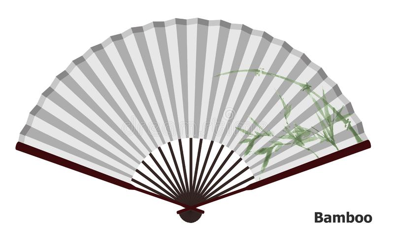Fan china antigua con el bambú ilustración del vector