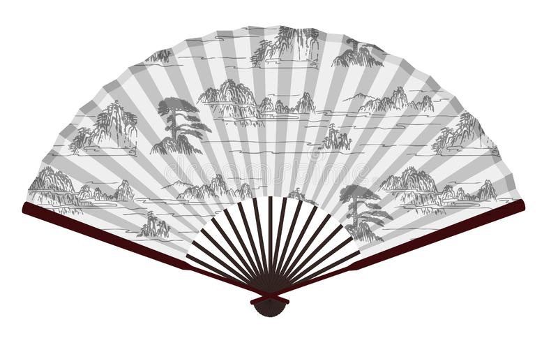 Fan china tradicional antigua con las montañas y las nubes Paingting, paisaje, Paradise libre illustration