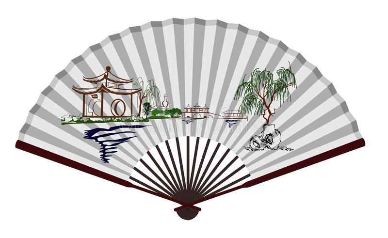Fan chinoise antique avec la tache scénique illustration stock