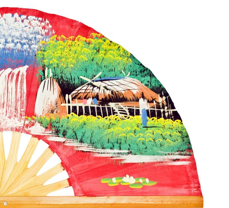 Fan chinoise colorée d'isolement sur le blanc images stock