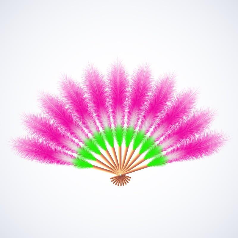 Fan colorée de plumes d'isolement sur le blanc illustration de vecteur