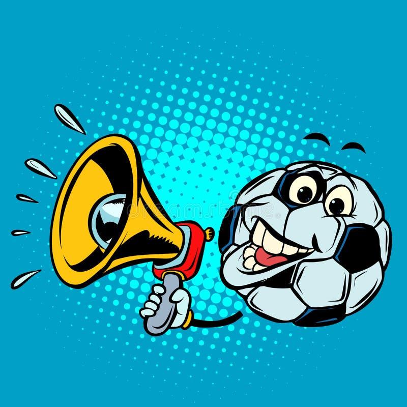 Fan con il megafono Pallone da calcio di calcio Carattere divertente illustrazione vettoriale