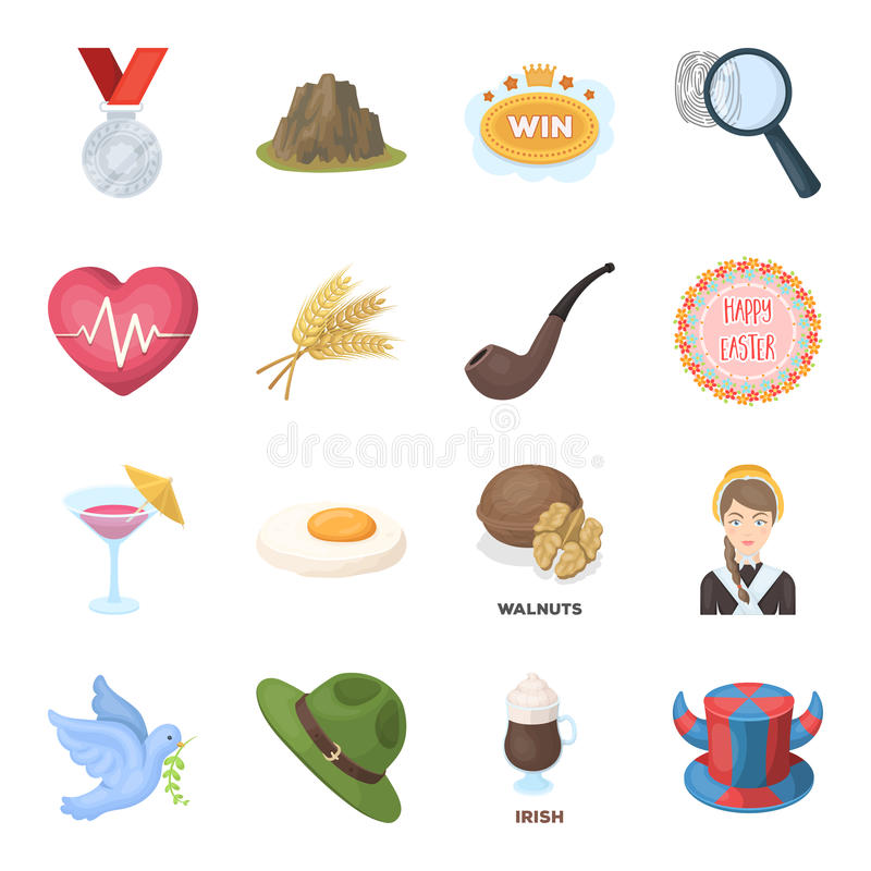 Fan, country, food and other web icon in cartoon style.Detective, police, health icons in set collection. royalty free illustration