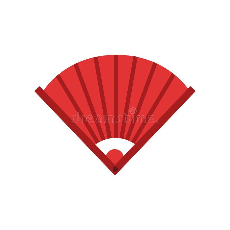 Fan de bambú de la mano del chino tradicional Icono en color rojo Talismán del shui de Feng o amuleto protector Vector plano aisl stock de ilustración