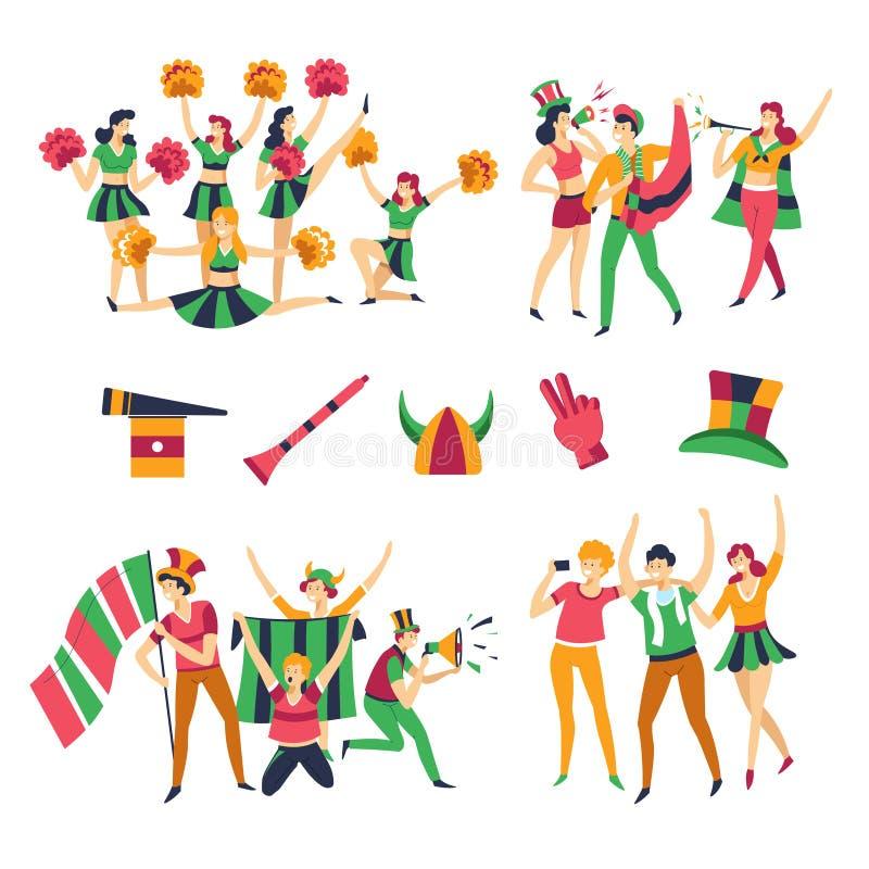 Fan de futebol e de homens e de mulheres dos líder da claque roupa da cor da equipe ilustração stock