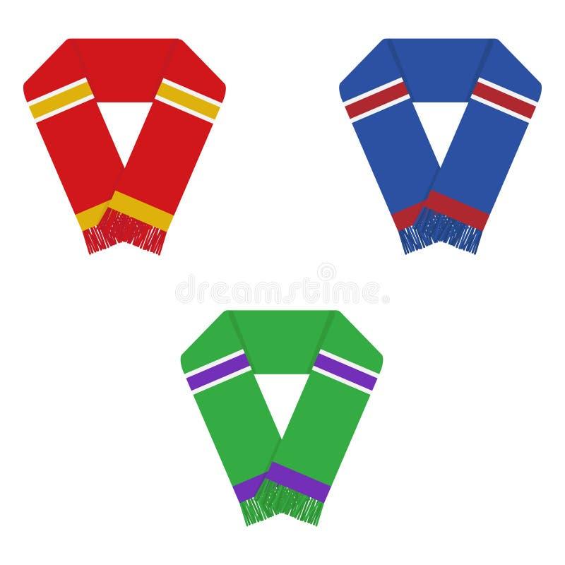 Fan de futebol lenço, scarves ajustados dos fan de futebol ilustração do vetor
