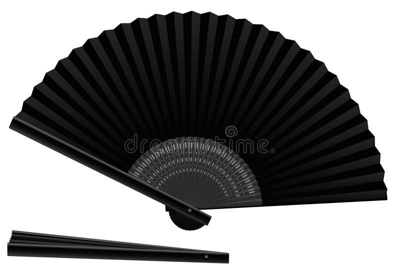 Fan de main noire ouverte-fermée illustration de vecteur