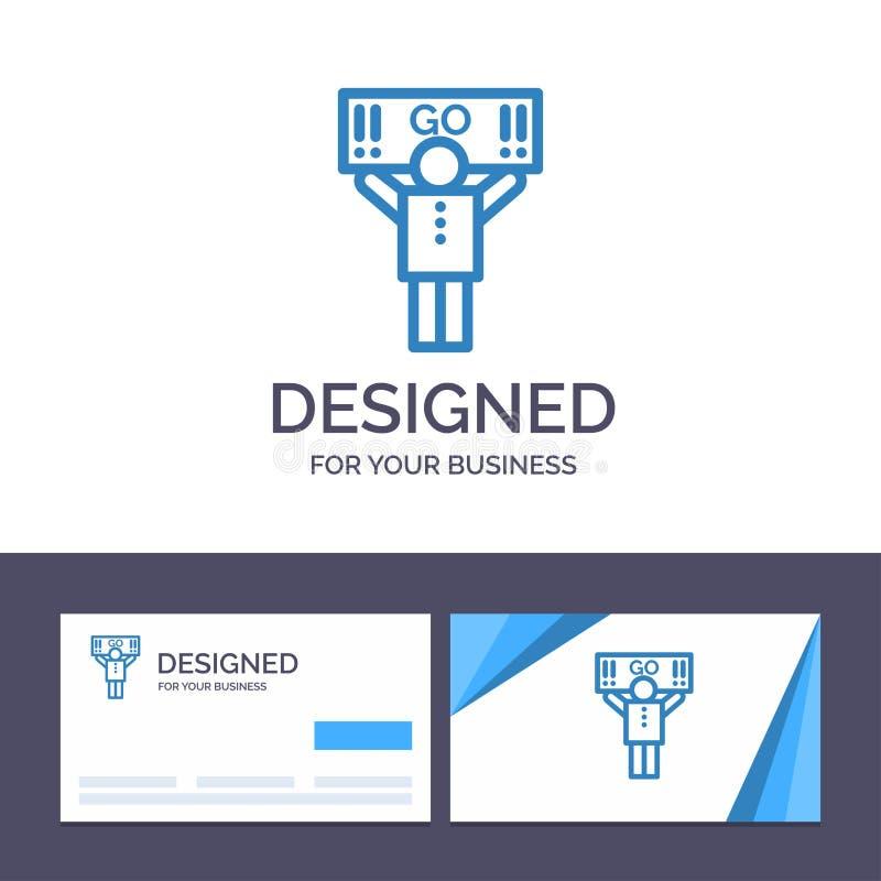 Fan del modello creativo di logo e del biglietto da visita, sport, supporto, illustrazione di vettore del sostenitore illustrazione di stock