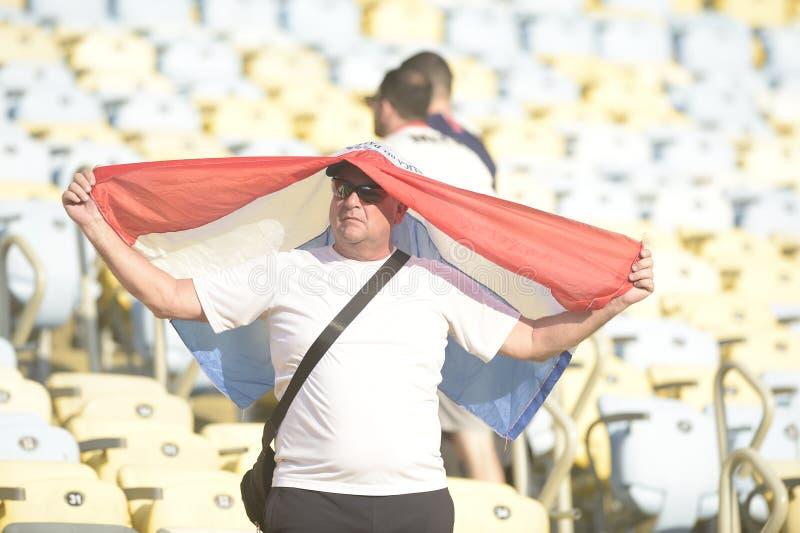 Fan 2019 di calcio di Copa America Brasile fotografia stock libera da diritti