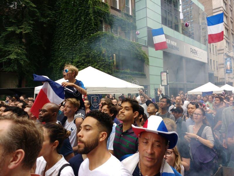Fan di calcio francesi in New York, finale di coppa del Mondo immagini stock libere da diritti