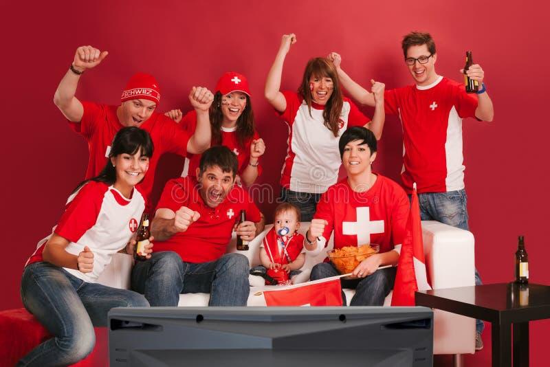 Fan di sport svizzeri felici immagine stock libera da diritti