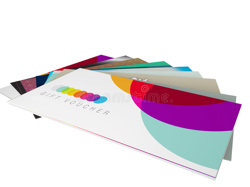 Fan of different gift voucher card designs. 3d render of a set of designs for gift vouchers stock illustration