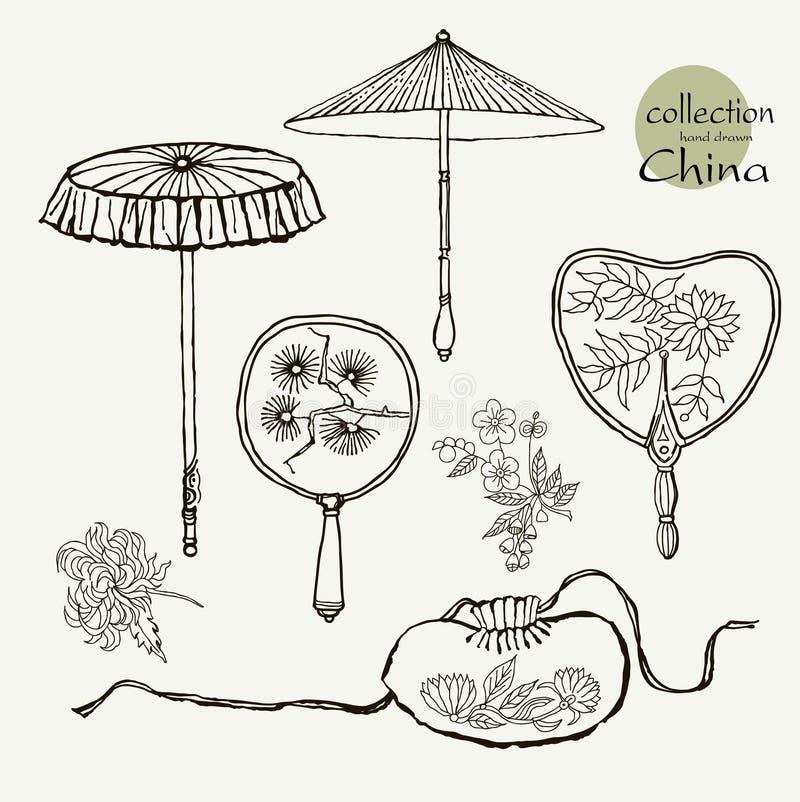 Fan e gli ombrelli delle donne della raccolta i vecchi Schizzo dell'illustrazione di vettore su fondo di carta royalty illustrazione gratis