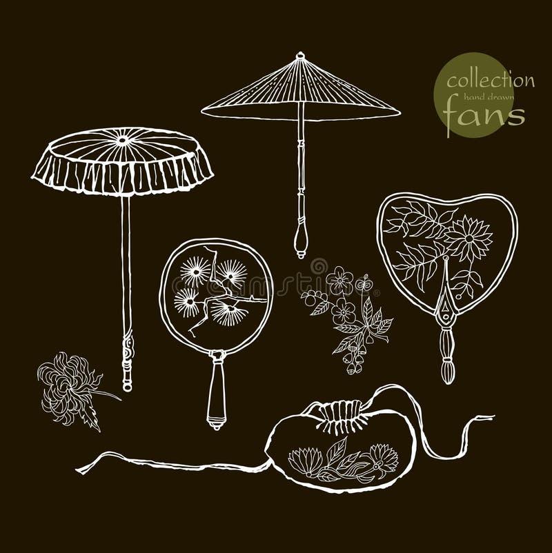 Fan e gli ombrelli delle donne della raccolta i vecchi Vettore illustrazione di stock
