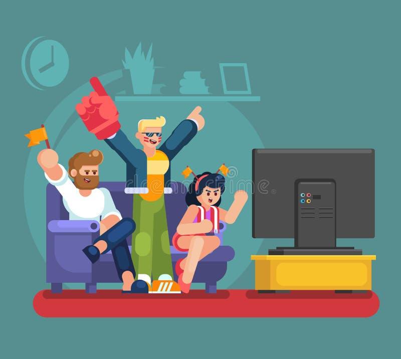 Fan ed amici di calcio che guardano TV sullo strato Illustrazione piana sostenente della gente della partita di calcio Gioco m. d fotografia stock libera da diritti