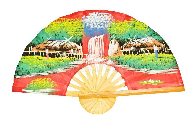 Fan en bois antique asiatique d'isolement sur le blanc photos libres de droits