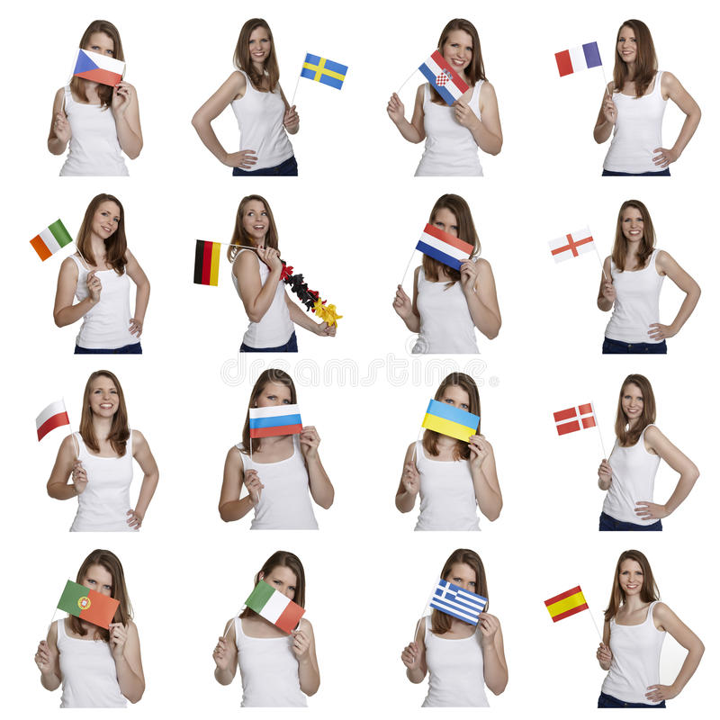 Fan with european flags stock photo